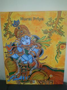 Sharing the knowledge of Kerala Mural paintings through My Experience and Experiments Black Canvas Paintings, Indian Art Paintings, Madhubani Art, Madhubani Painting, Buddha Drawing, Indian Traditional Paintings, Beach Mural, Kerala Mural Painting, Mural Art