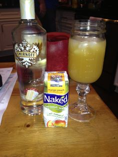 The healthiest most hydrating alcohol drink you can make! Cake vodka + mango peach coconut water. interesting....