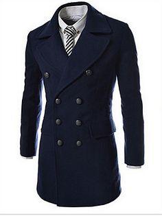 Casual/hétköznapi+Egyszerű+Téli-Férfi+Kabát,Egyszínű+Állógallér+Hosszú+ujj+Kék+/+Fekete+/+Szürke+Gyapjú+Vastag+–+USD+$+44.99
