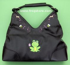 Leather Look Embroidered Frog Purse