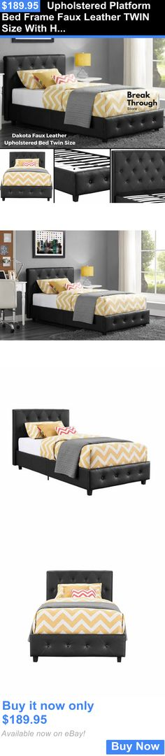 Bedding: Upholstered Platform Bed Frame Faux Leather Twin Size With Headboard Furniture BUY IT NOW ONLY: $189.95