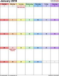 January 2019 Calendar Portrait Blank January 2019 Calendar