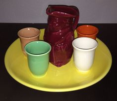 California Pottery 1930s Gladding McBean breakfast juice set with Toby pitcher, juice tumblers and bottom chop plate