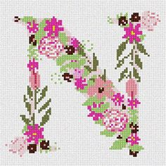 The Letter N Flowering Needlepoint Canvas Pepita