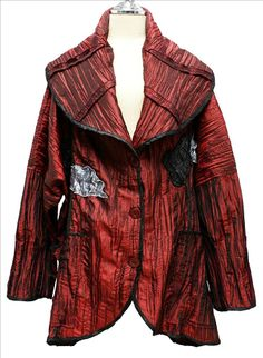 AKH Fashion Lagenlook Jacke Blazer gecrasht XXL Mode in weinrot bei www.modeolymp.lafeo.de