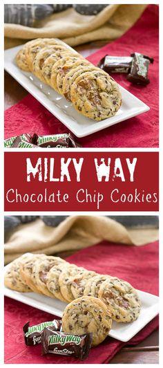 Milky Way Chocolate Chip Cookies | Kicked up chocolate chip cookies with the addition of Milky Way chunks @lizzydo