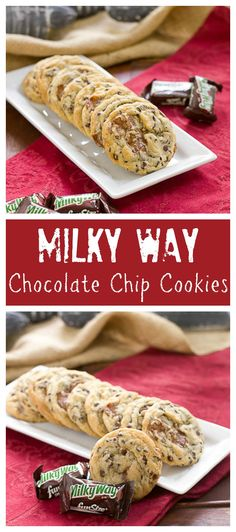 Milky Way Chocolate Chip Cookies   Kicked up chocolate chip cookies with the addition of Milky Way chunks @That Skinny Chick Can Bake!!!