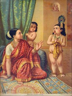 Little Krishna. Oleograph by Raja Ravi Varma Yashoda Krishna, Bal Krishna, Krishna Art, Radhe Krishna, Ravivarma Paintings, Indian Art Paintings, Raja Ravi Varma, Lord Krishna Wallpapers, Lord Krishna Images