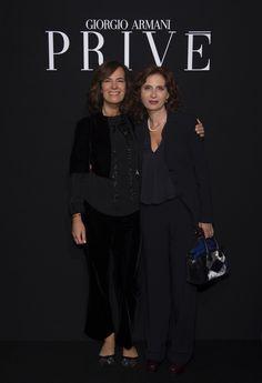 Roberta Armani and Margaret Mazzantini at the #GiorgioArmaniPrivé #FW16 fashion show. #pfw