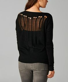 Another great find on #zulily! Dare Black Razor-Cut Boatneck Top by Dare #zulilyfinds