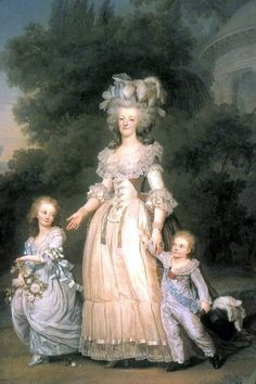 Marie Antoinette with her children Marie-Thérèse Charlotte and Louis Joseph, Dauphin of France in the Petit Trianon Gardens; by Adolf Ulrich Wertmuller, c. 1785