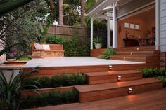 back yard garden and decking: plant step combo not the lights