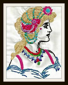Seriously beautiful work! DIY Embroidered Woman - Reader Feature -The Graphics Fairy