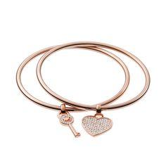 #MK #Trends Michael Kors Heart And Key Charm Rose Golden Bracelets