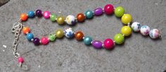 Summer Flower Chunky Necklace Pink Blue by PrincessIzzyBoutique, $16.00