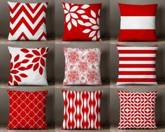 Throw Pillow Covers Red and White Pillow Covers by HLBhomedesigns
