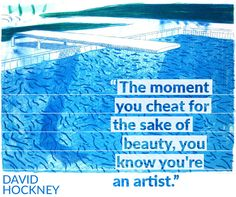 "David Hockney, ""Lithograph of Water Made of Thick and Thin Lines and a Light Blue Wash and a Dark Blue Wash"""