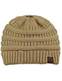 Women's Warm Cable Knitted Messy High Bun Hat Beanie With Hole For Pony Tail Skull Cap