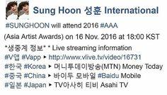 #Repost @sunghoon1983_support ・・・ [ LIVE STREAMING ] #SUNGHOON will attend 2016 #AAA (Asia Artist Awards) 아시아 아티스트 어워즈 on 16 Nov. 2016 at 18:00 KST *생중계 정보* * Live streaming information #V앱 #Vapp ▶ http://www.vlive.tv/video/16731 #한국 #Korea ▶ 머니투데이방송(MTN) Money Today (#MTN) #중국 #China ▶ 바이두 모바일 #Baidu Mobile #일본 #Japan ▶ TV아사히 티비 Asahi TV . #성훈 #배우성훈  @sunghoon1983파이팅! Fighting!! #ソンフン#방성훈#成勋 #成勛  #sunghoon1983 #sunghoon1983_support
