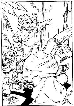 star wars coloring page ewoks
