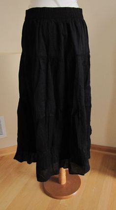 Gap Maxi Skirt Small Black Pull On Long Boho Modest Stretch Jersey ...