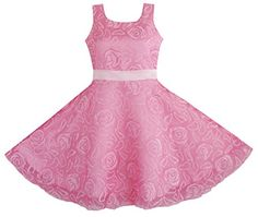 Sunny Fashion Girls Dress Pink Rose Wedding Pageant Boutique Size 45 * Check out the image by visiting the link.