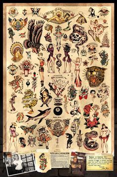 "Sailor Jerry Tattoo Flash Poster 24""x36"" New. Ships Rolled In Shipping Tube."