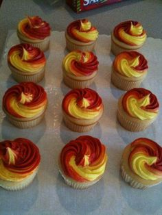Birthday Party: Iron Man 'themed' cupcakes - The clients little boy loves Iron Man, so we did Iron Man colors Swirls! Cupcakes are a simple white mix Iron Man Cupcakes, Cupcakes For Men, Swirl Cupcakes, Themed Cupcakes, Birthday Cupcakes, Cupcake Cakes, Birthday Nails, Avengers Birthday, Superhero Birthday Party