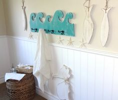 Nautical Wooden Beach House Wave Towel Rack by MeetMeByeTheSea, $68.00