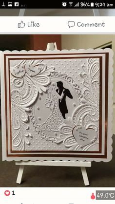 Idea for using embossed paper and die cuts Wedding Day Cards, Wedding Cards Handmade, Wedding Anniversary Cards, Handmade Birthday Cards, Pretty Cards, Love Cards, Embossed Cards, Embossed Paper, Crafters Companion Cards