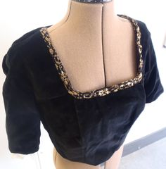 Velvet bodice with gold lace