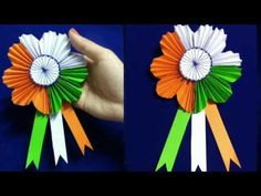DIY Republic Day Badge | Indian Tricolor flag badge | Republic Day Craft | Tricolor - YouTube Art N Craft, Craft Stick Crafts, Preschool Crafts, Food Crafts, Independence Day Activities, Independence Day Decoration, Paper Flowers Craft, Flower Crafts, Paper Crafts