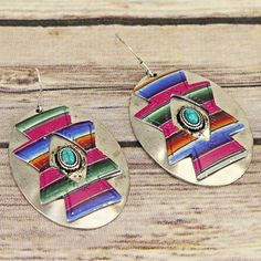 OH SO CUTE OVAL AZTEC STYLE HOOK EARRINGS 3 COLORS TO CHOOSE FROM FREE SHIPPING