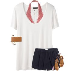A fashion look from August 2016 by maggie-prep featuring The Row, Madewell, Victoria's Secret, Steve Madden, MICHAEL Michael Kors, Kate Spade, Kendra Scott, Dev...