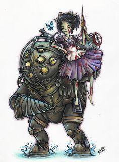 Big Daddy and Little Sister by ohmonah on DeviantArt Bioshock Game, Bioshock Series, Star Wars Poster, Star Wars Art, Star Trek, Sisters Art, Little Sisters, Batman Tattoo, Cartoon Fan