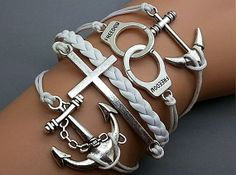 Personalized Braid Leather Rope Cross Handcuffs Silver Anchor Bracelets for Unisex