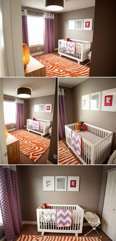 lifelove: a bright and colorful #baby room with a unique purple, taupe and orange color scheme