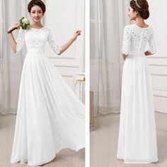 Plus Size Wedding Party Long Dress Women Ladies Mid Sleeve Chiffon Lace Dresses Party Maxi Dresses Vestido de festa Brasil Trend-in Dresses from Women's Clothing & Accessories on Aliexpress.com | Alibaba Group