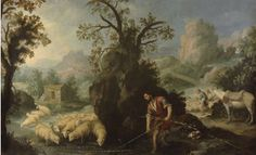 Allegory-Jacob Laying The Peeled Rods by Bartolome Esteban Murillo Jaco, Landscape Drawings, Landscape Paintings, Oil Paintings, Francisco Zurbaran, Annibale Carracci, Esteban Murillo, Oil On Canvas, Canvas Prints
