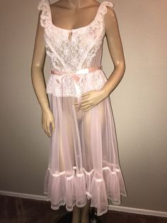 86104cfd1f9 Vtg Pandora Lingerie By Chic Nylon Sheer Chiffon Nightgown Med Sissy Made  In USA