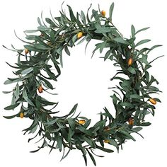 Duovlo 20'' Artificial Olive Wreath Christmas Front Door Wreath Greenery Branches Hanging Decoration -- Check out the image by visiting the link. (This is an affiliate link) #HomeDcorAccents