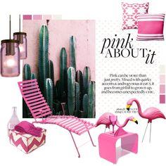 Pink Garden by marisa-martinez-interiorista on Polyvore featuring interior, interiors, interior design, thuis, home decor, interior decorating, Besa Lighting, Fermob, Orange22 and e by design