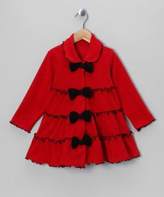 Take a look at this Red Tiered Ruffle Bow Jacket - Girls by Fleecy Favorites Collection on #zulily today!