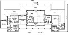 Modern Ranch style house plan... not crazy about the country decor and the facade, but I really like the floor plan.