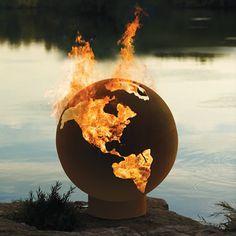The Athletes Village Fire Pit Globe - Hammacher Schlemmer