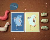 Bird is the word. set of 2 lovely bird postcards from an original handmade illustration colored digitaly ,perfect for framing