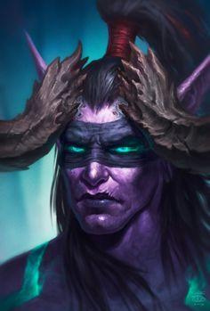 World Of Warcraft 3, Warcraft Art, Fantasy Weapons, Fantasy Warrior, Blizzard Warcraft, Hearthstone Heroes, Illidan Stormrage, Night Elf, Heroes Of The Storm