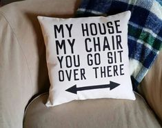 Funny gifts for dad - My House, My Chair, You Go Sit Over There Recliner Pillow Funny Birthday Gifts for Dad Fathers Day Gift for Grandpa Bad Dad Joke Gift – Funny gifts for dad Unique Gifts For Dad, Diy Gifts For Dad, Funny Fathers Day Gifts, Joke Gifts, Funny Birthday Gifts, Grandpa Gifts, Grandpa Birthday Gifts, Birthday Ideas For Dad, Birthday Quotes