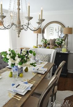 We love the height these buffet lamps from HomeGoods add to the sideboard in this blue and white dining room all set up for a lovely spring or summer brunch! French Country Furniture, French Country Decorating, Dear Lillie, French Style Homes, Beautiful Dining Rooms, House Beautiful, Buffet Lamps, Home Upgrades, White Rooms