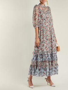 Robe en voile de soie à imprimé Disty Keiko Tricia Modest Dresses, Casual Dresses, Fashion Dresses, Comfortable Fashion, Comfortable Outfits, Corsage, Silk Dress, Dress Up, Motif Floral